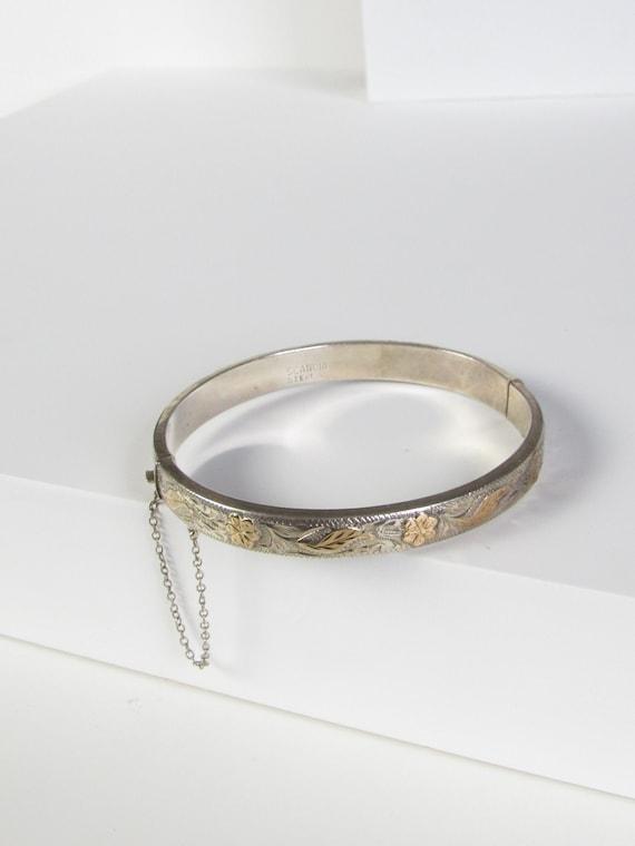 SCANDIA Floral Etched Gold Washed Silver Bangle Br