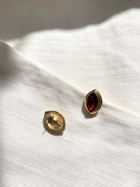 Monet Marquise Red Jewel Gold Pierced Earrings   … - image 3