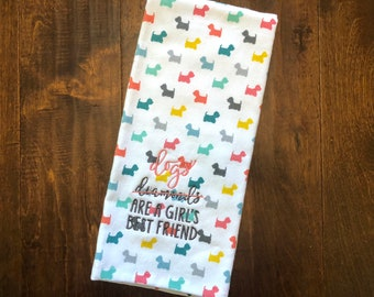 Dogs are a Girl's Best Friend //  Embroidered Dog Kitchen Towel