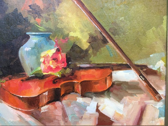 Violin Original Oil Painting Vase Forgotten melody