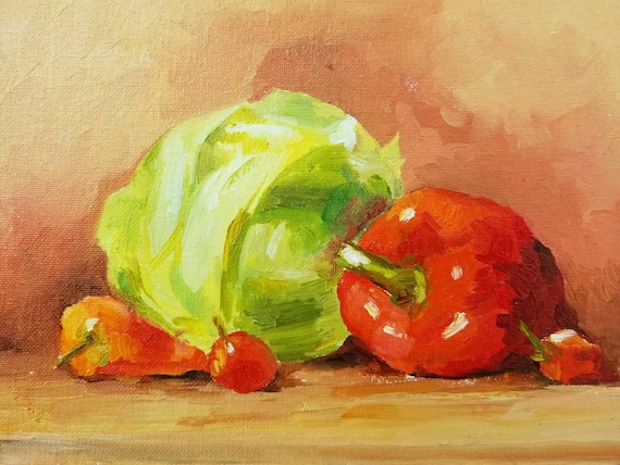 Vegetables Original Oil Painting Kitchen Still Life