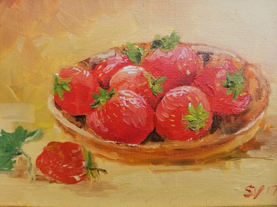 Basket of Strawberries Still Life Original Oil Small Painting Art