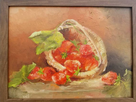 Original Oil Painting Basket of Strawberries Still Life