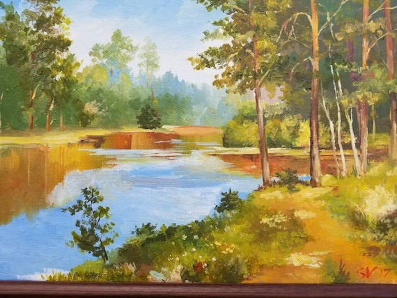 Original Oil painting Forest Lake Tree Landscape Dining Room Path