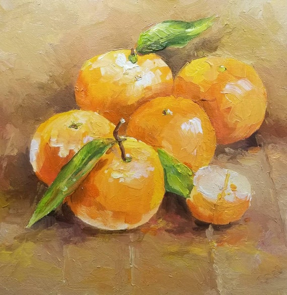Mandarin Original Oil Small Painting Art