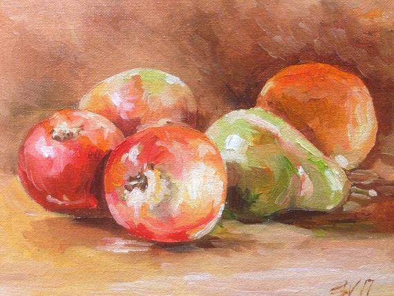 Original Painting  Pear Red Green Apple Fruit Still Life Oil