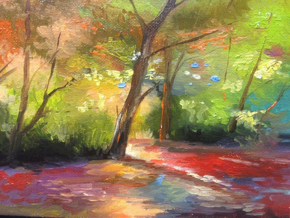 Original Oil painting, Small Painting Art, Landscape, Forest, Path