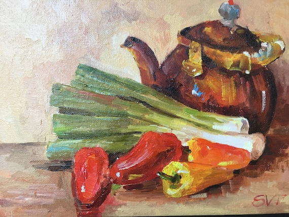 Veggie and Kettle Original Oil Painting Onion Pepper Kitchen Dining Room Art