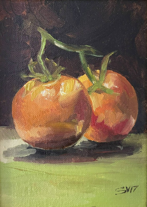 Tomato, Original Oil Painting Kitchen Dining Room Art