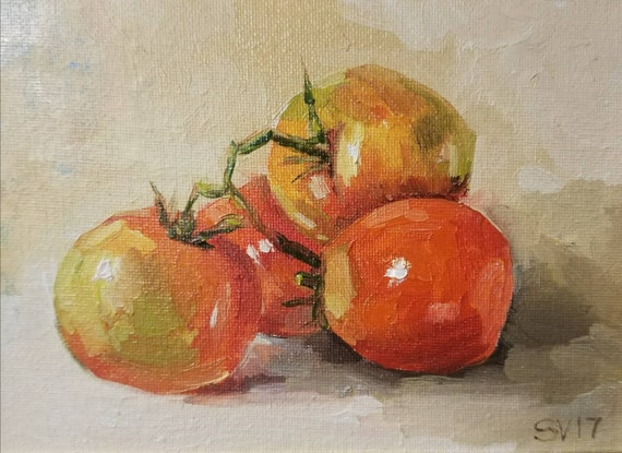 Tomato Still Life Original Oil Small Painting Art