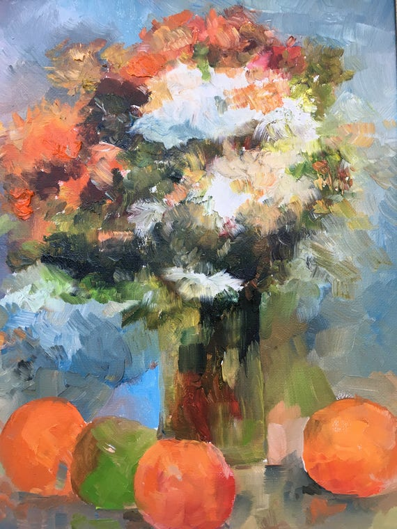 Bouquet Original Oil Painting Vase Flowers