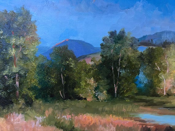 Oil Painting Original Field and trees