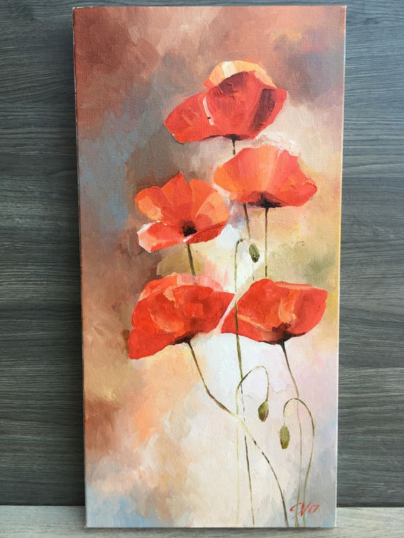Flowers Original Oil Painting Art Poppy