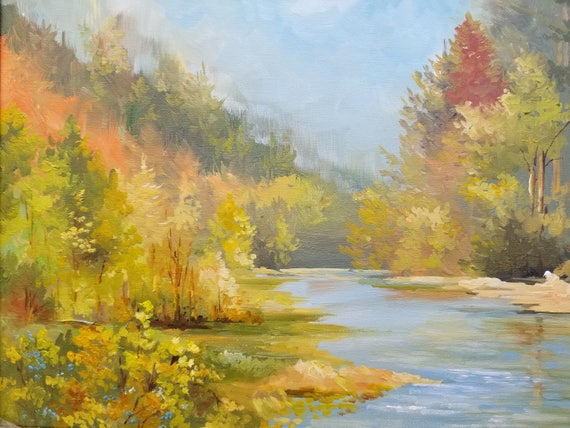 Original Oil Painting Landscape Mountain River