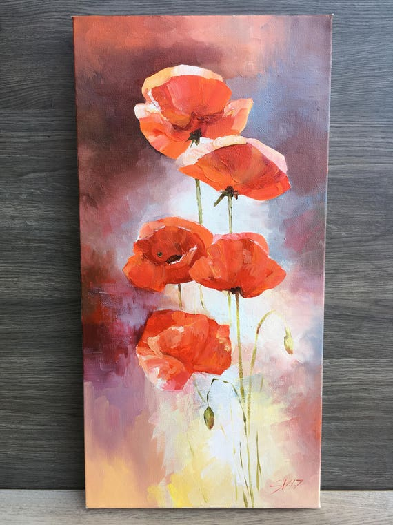Flowers Poppy Wall Art Original Oil