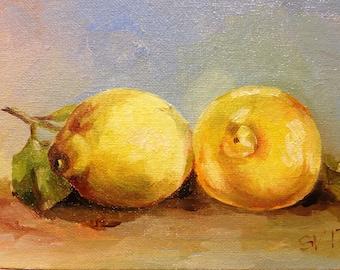 Lemon Original Oil Small Painting Art