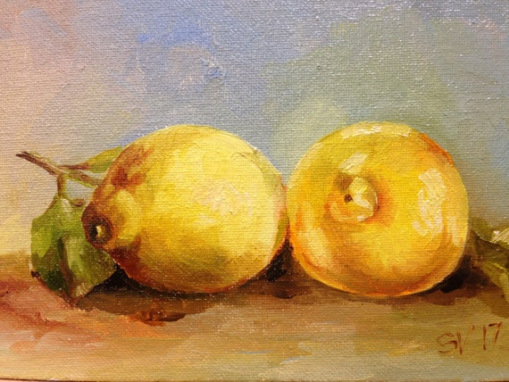 Lemon Original Oil Small Painting Art