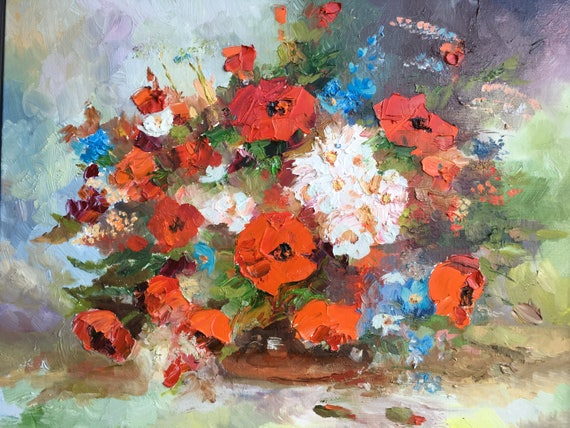 Original Oil Painting Flower Vase Living Room Art or Wall