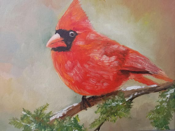 Original Oil Painting Portrait Bird Cardinal Small Art