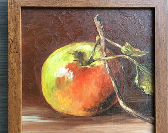 Apple Original Oil Small Painting Art Still Life Fruits
