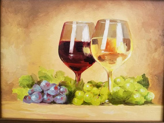 Wine Red White Grape Original Oil Painting Kitchen Art