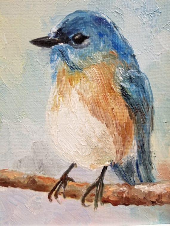 Bluebird Original Oil Portrait Art Nature