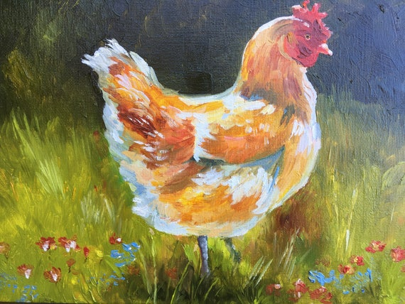 Hen Original Oil Painting Field