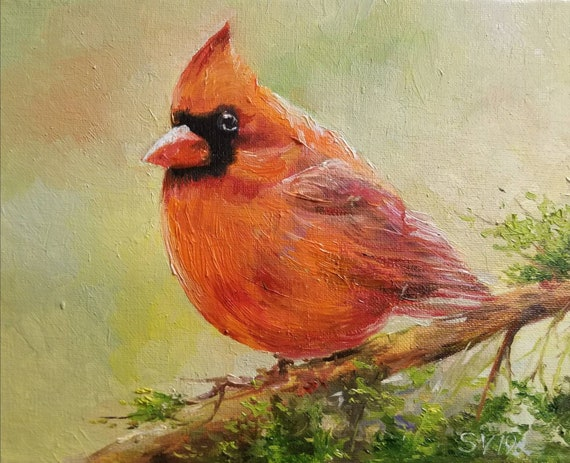 Red Cardinal, Handmade Original Oil Painting