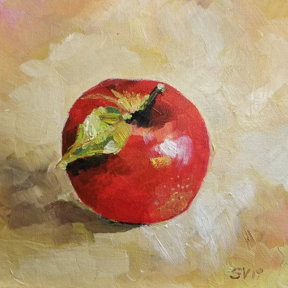 Apple Original Oil Painting, Still life Kitchen Decor