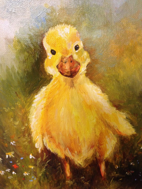 Duck Portrait Kids Room Original Oil Painting