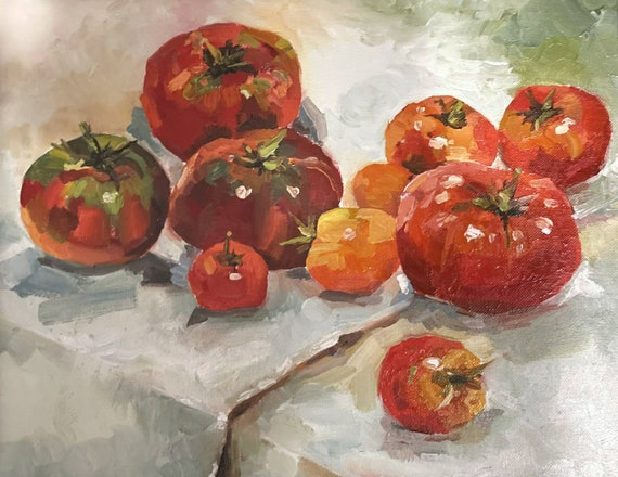 Jersey Tomatoes Veggie Original Oil Paiting Red Kitchen Decor