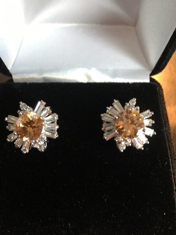 Morganite & White Topaz Earrings - Pierced Earring