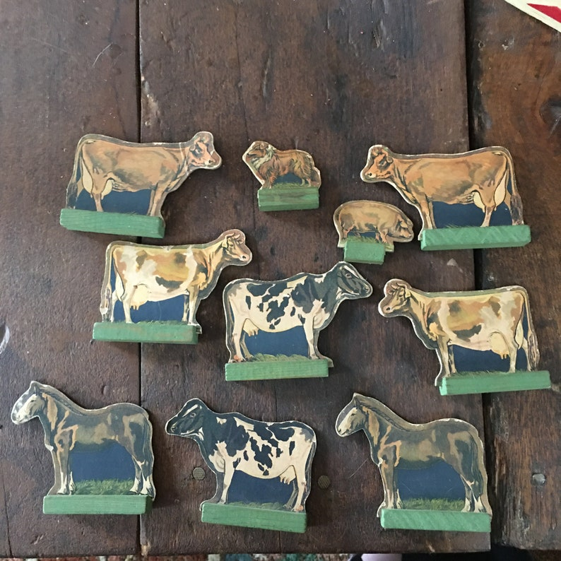 Cardboard Double Sided Animals with Stands 1930s Cardboard Farm Animals