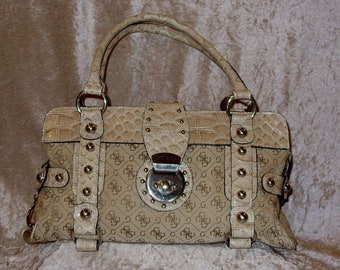 b7fa74c09c Authentic Guess Purse Faux Alligator Print Cream White Studded Purse Medium  Unique Christmas Birthday Anniversary Gift For Her