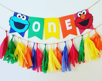 Sesame Street Birthday Banner1st Decorbirthday Decorationssesame High Chair Bannerphoto Propsesame Cake Smash