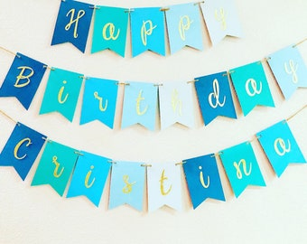 Red Blue Green Diamonds Personalized Birthday Party Bunting Flag Banner