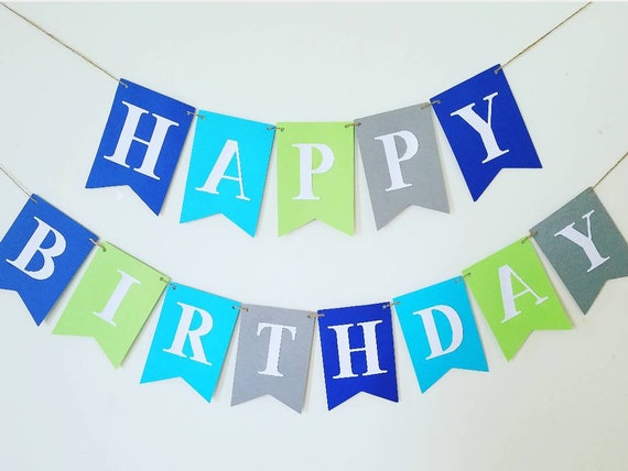 large happy birthday banner boy banner boy birthday banner green