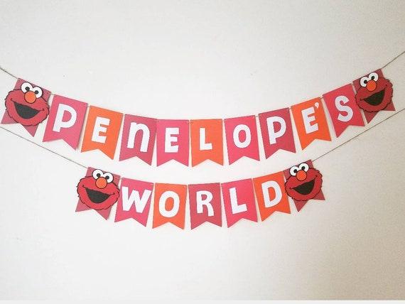 Elmo S World Name Banner Elmo Banner Elmo 1st Birthday Decor Elmo