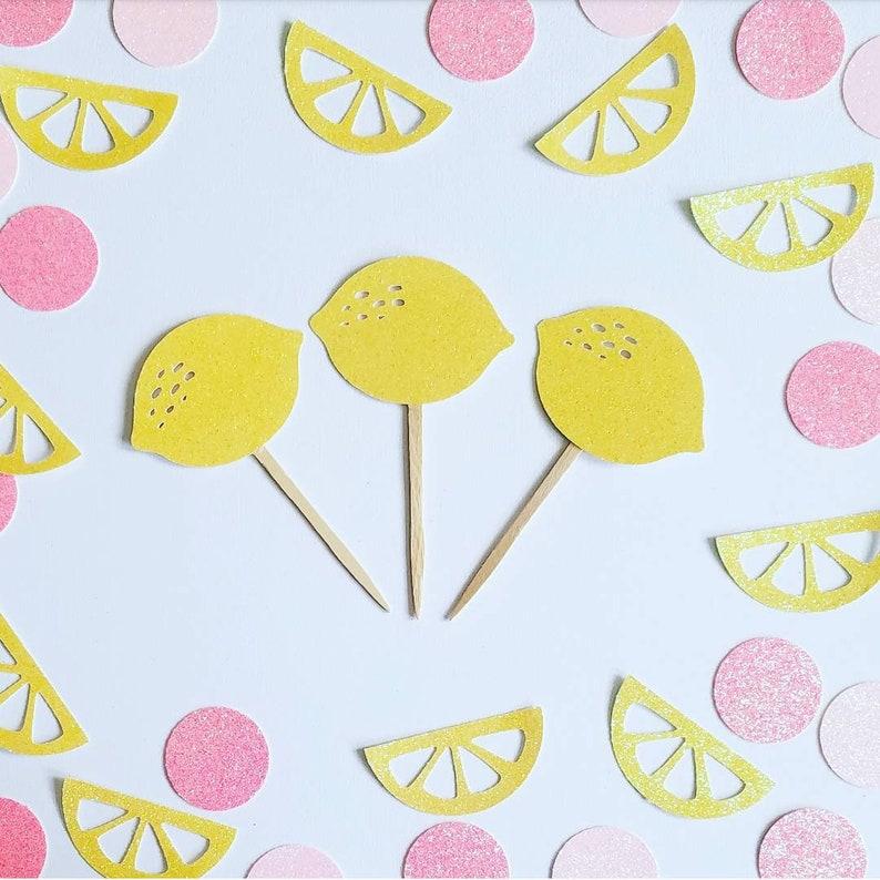 Lemon cupcake toppers,pink lemonade cupcake toppers,tutti frutti cupcake toppers,fruit cupcake toppers