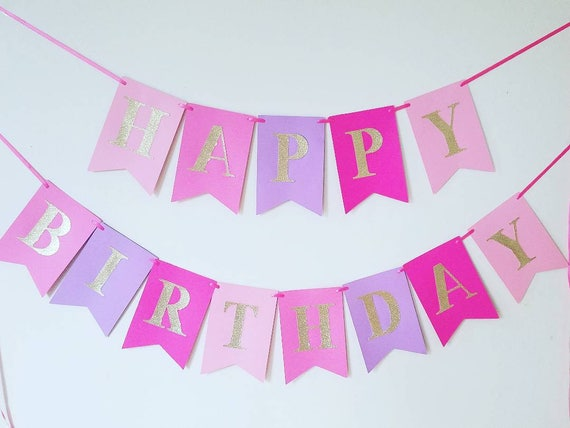 Pink And Purple Happy Birthday Banner Pink And Gold Banner Purple