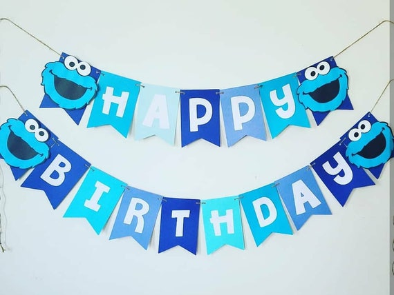 Cookie Monster Birthday Banner Cookie Monster Banner Cookie Monster 1st Birthday Decor Cookie Monster Birthday Decorations Cookie Monster