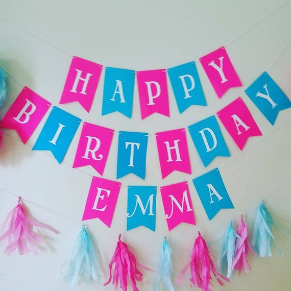 Large Pink And Teal Girls Happy Birthday Banner Girls Summer
