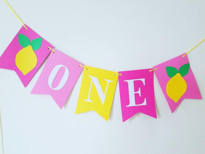 one banner,high chair banner,lemonade 1st birthday banner,lemonade cake smash banner,pink lemonade banner,Lemonade party decor,photo prop