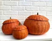 Vintage Basket Pumpkin. Pumpkin Basket. Halloween Decor. Wicker Candy Dish. Pumpkin Basket. Orange Planter Pot.