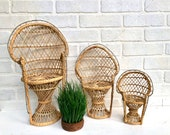 Vintage Wicker Peacock Chair. Mini Peacock Chair. Plant Stand. Boho Chair. Boho Home. Bohemian Decor. Doll Chair.