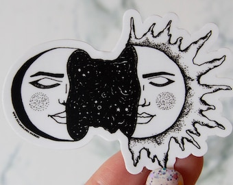 Sun and Moon Art Sticker - Hand Drawn - Vinyl Stickers, black and white, boho, tarot