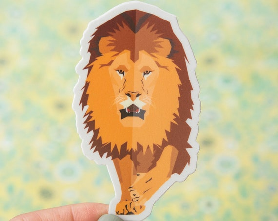 Geometric Lion Sticker - Vinyl Stickers, nature enthusiast, outdoors, lioness, king of the jungle, leo, cats, kids water bottle sticker