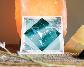 Merkaba Sacred Geometry Sticker - Vinyl Stickers, ether, energy, crystal grid, boho, ascend, Mysticism, tarot, meditation, geometric