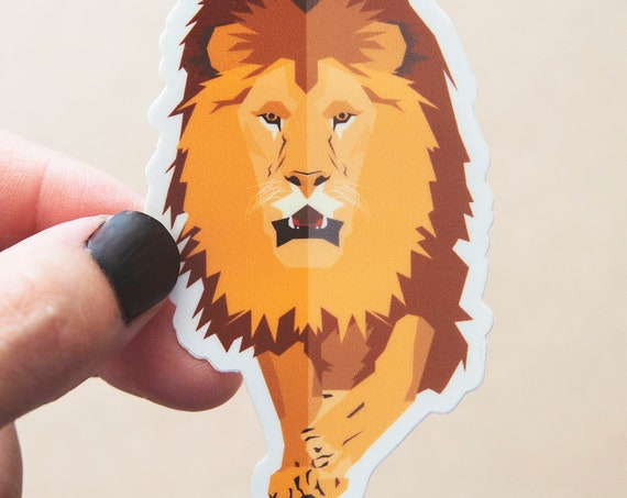 Geometric Lion Sticker - Vinyl Stickers, nature enthusiast, outdoors, lioness, king of the jungle, leo, animals, animal lover, zoo keeper