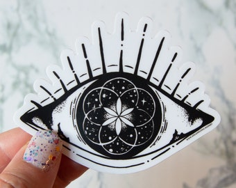 Cosmic Eye Seed of Life Sticker - Hand Drawn - Vinyl Stickers, space, etherial, energy, boho, clouds